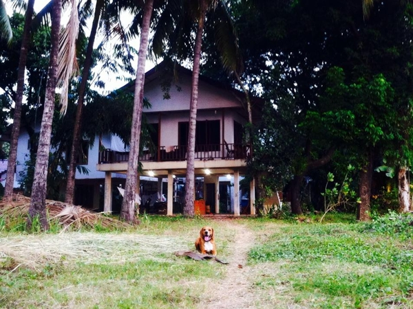 Riverbank chalet on the Mekong, complete with fun loving companion.
